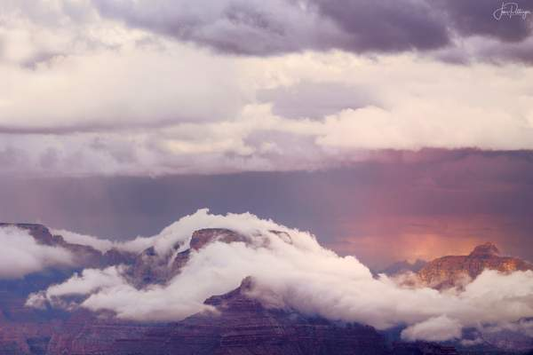 Fog Wrapping Around the Peaks In Grand Canyon