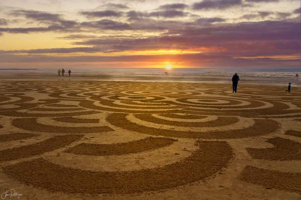 Labyrinth On the Beach At Sunset