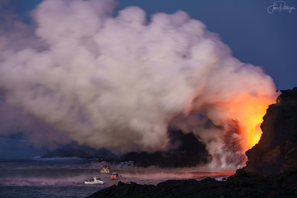 Tour Boats Approaching Volcano Fire