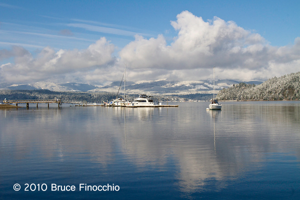 Boats, Snow, and Reflections In The Hood Canal by BruceFinocchio