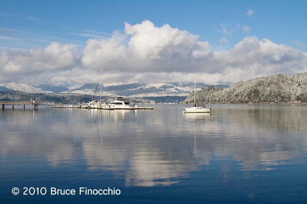 Boats, Snow, and Reflections In The Hood Canal by...