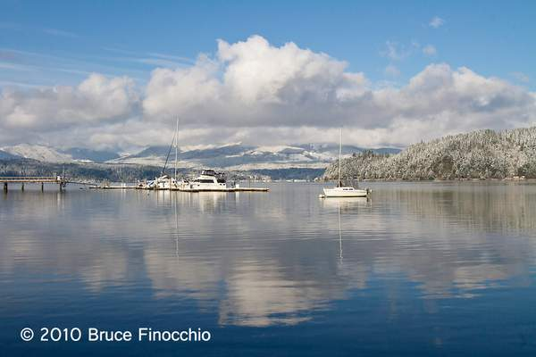 Boats, Snow, and Reflections In The Hood Canal