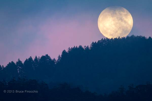 Full Moon Rise Over Skyline Ridge