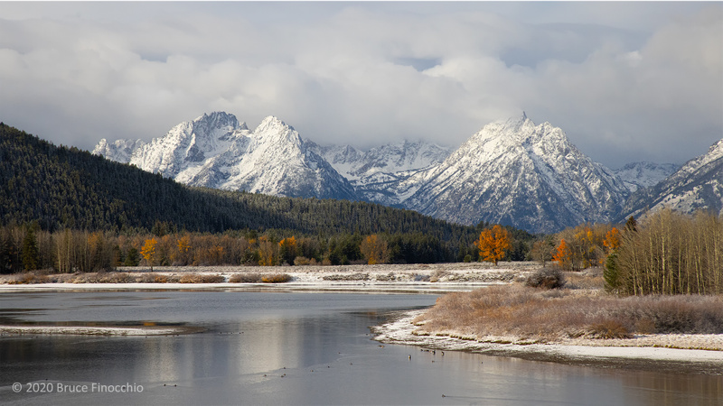 Early Winter Storm Clears The Teton Peaks From OxBow Bend Turnout On The Snake River
