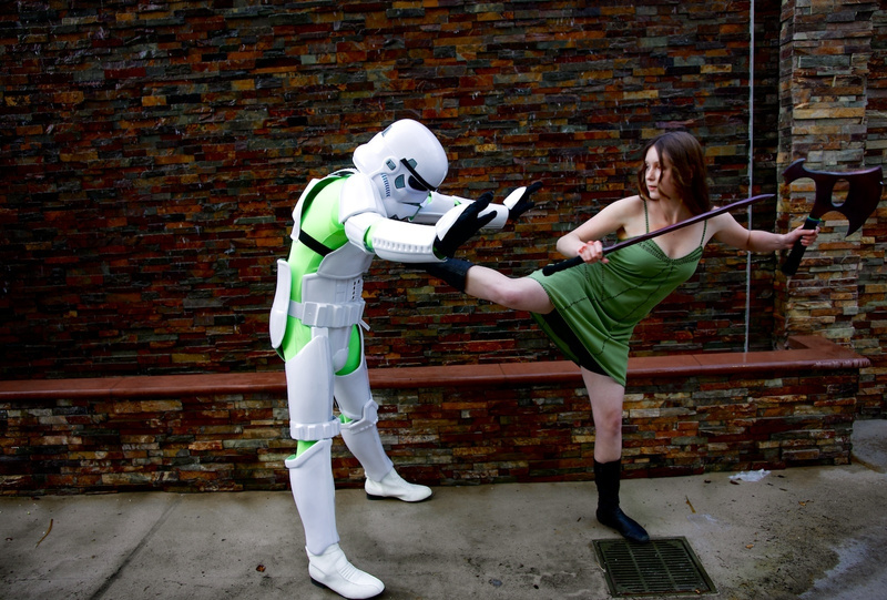 River executes back kick on Imperial Storm Trooper