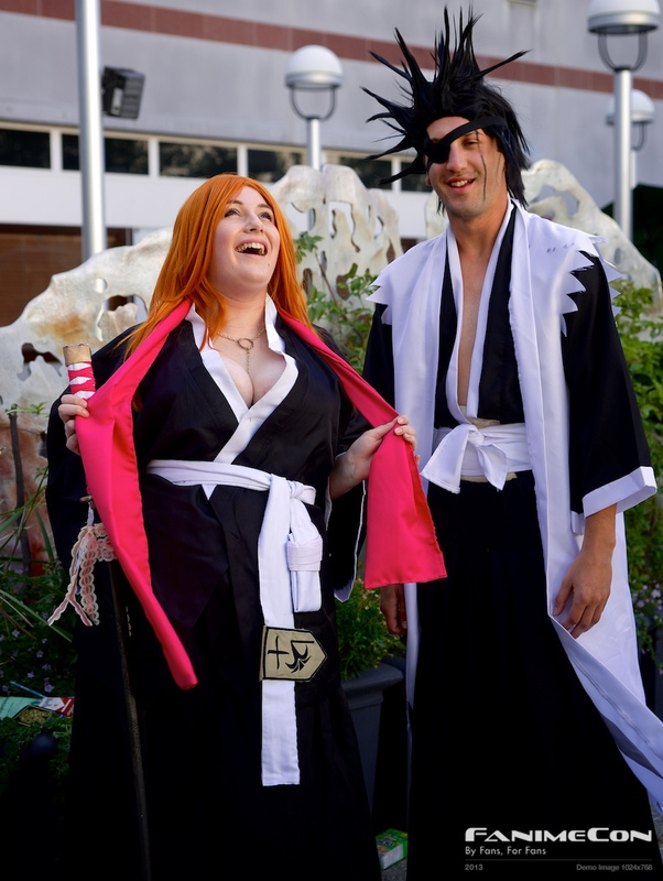 Orange hair and black hair, black n white costumes