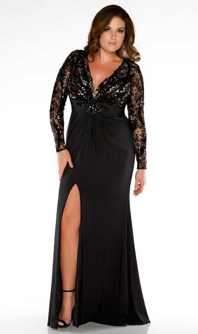 2013-51 black lace plus size evening dresses