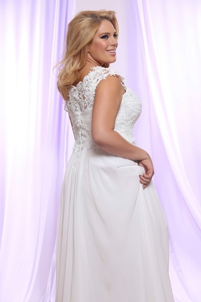 Style #PS142 - 1500 - back of Soutage Lace Wedding Dress for Plus Size Brides