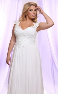 Style #PS142 - 1500 - Soutage Lace and Chiffon Wedding Dress for Plus Size Brides