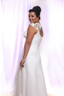 Style #PS143 - 1650 - back of Tulle Plus Size Wedding Dress with Pearls and Sequin on Lace