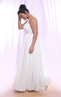 Style #PS145 - 1500 - side of the Belted Empire Waist Plus Size Wedding Dress with Soutage Lace and Pearls