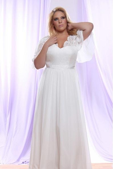 Style #PS146 - 1500 - Brocade Chiffon Plus Size Wedding Dress with Empire Waist