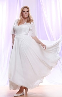Style #PS146 - 1500 - flowing skirt with Brocade Chiffon Plus Size Wedding Dress with Empire Waist