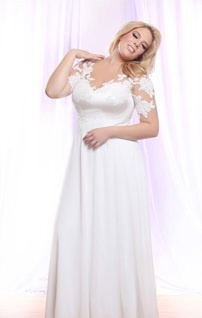 Style #PS147 - 1850 - Pearl Beaded Lace Plus Size Wedding Gown on Sheer Illusion neck line