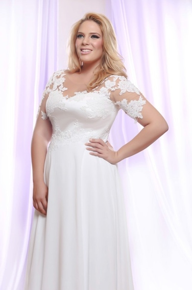 Style #PS147 - 1850 - Plus Size Wedding Dress with Pearl Beaded Lace on Sheer Illusion neck line