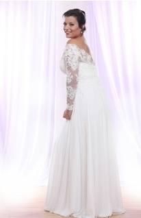 Style #PS148 - 1650 - back of Soutage Lace Wedding Dress with Long Sleeves for Plus Size Bride