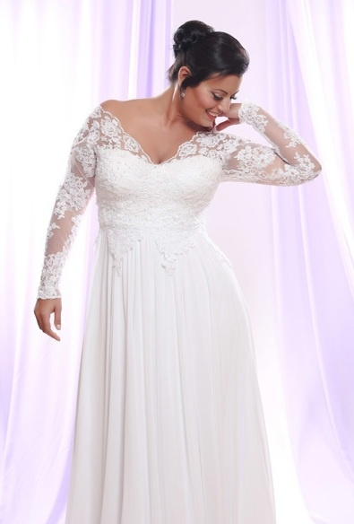 Style #PS148 - 1650 - Soutage Lace Wedding Dress with Long Sleeves for Plus Size Bride