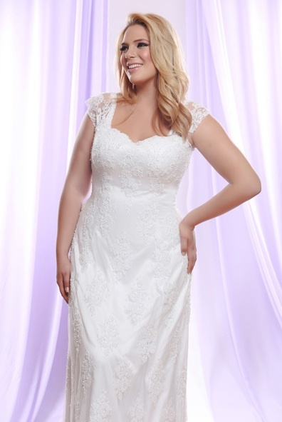 Style #PS149 Plus Size Wedding Dress with Sheer Lace...