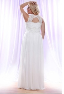 Style #PS1410 - 1550 - back of Halter Plus Size Wedding Dress with Pearl beaded Lace