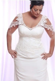 Style #PS1411 - 1750 - Front of Cap Sleeve Lace Plus Size Wedding Dress