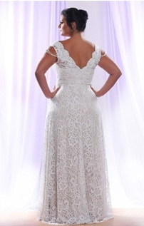 Style #PS1412 - 1950 - back of Detachable Long Sleeve Wedding Dress for Plus Size Bride