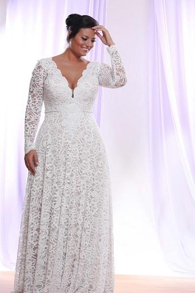 Style #PS1412 - 1950 - Darius Cordell Detachable Long Sleeve Wedding Dress for Plus Size Bride
