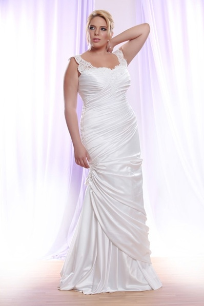 Style #PS1413 - Darius Cordell Ruched Plus Size Wedding Dress with lace Straps