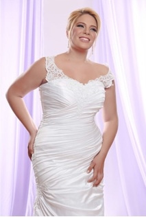 Style #PS1413 - Silk Sateen Ruched Plus Size Wedding Dress with lace Straps