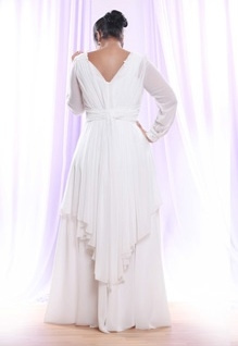 Style #PS1416 - back of Sheer Chiffon Long Sleeve Wedding Dress for Plus Size Brides