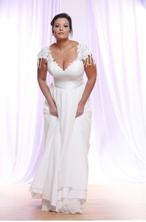Style #PS1417 - 2150 - Cap Sleeve Plus Size Wedding Dress with beaded Lace Silk Tulle Skirt