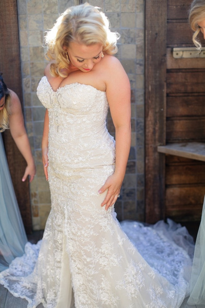 Strapless plus size wedding gown with split from Darius...