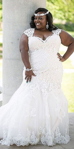 Cap sleeve plus size lace wedding gowns from Darius...