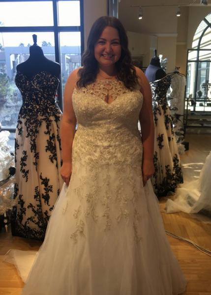 Sleeveless beaded plus size wedding gown from Darius...
