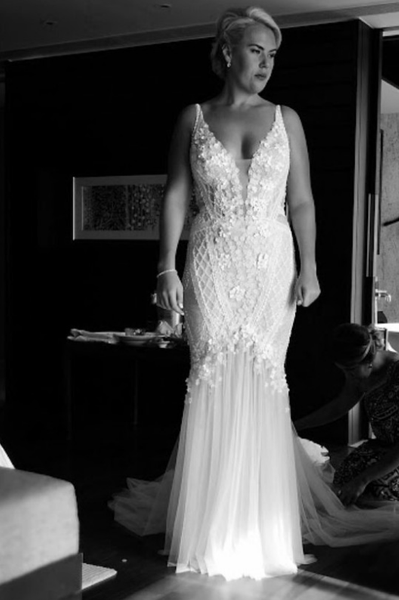 Sleeveless couture plus size bridal gowns from Darius...