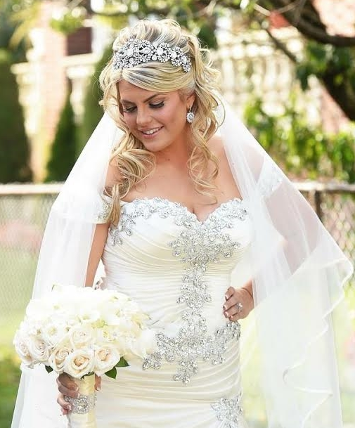 Rhinestone beaded plus size bridal gown from Darius Couture