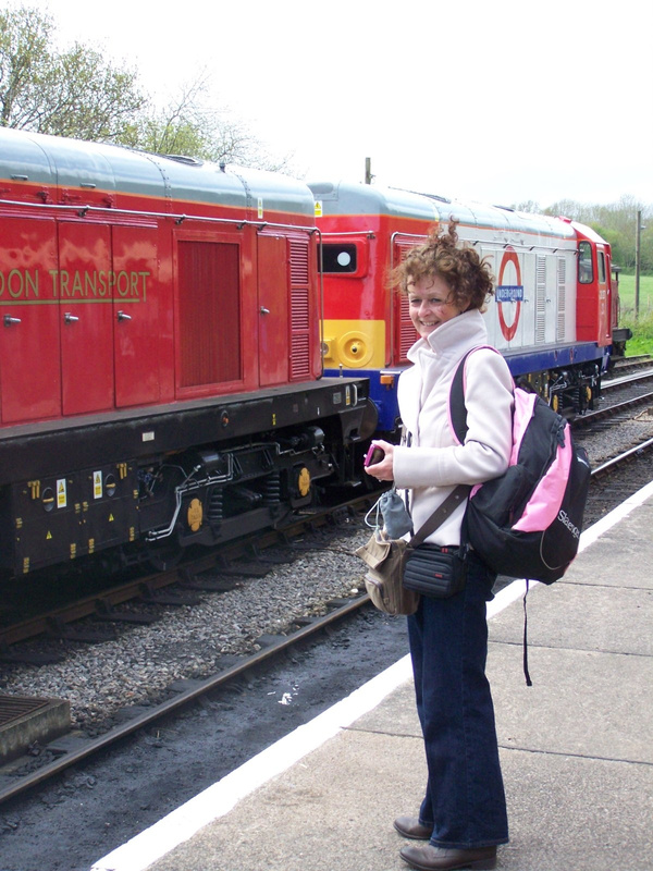 Jo admiring the Class 20's at Norden