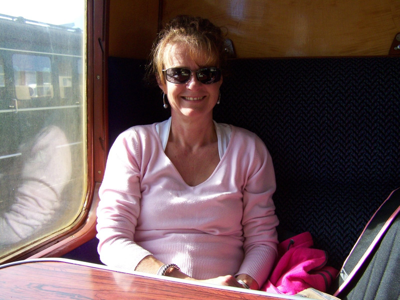 Joanna on board the 1435 to Bishops Lydeard from Minehead 06-10-12