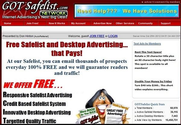 Safelist advertising by Gotsafelist