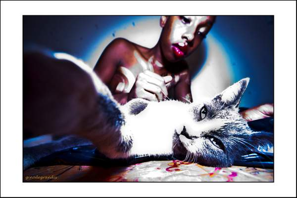 The model with a cat