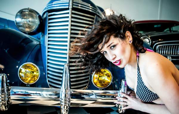 Model with a Classic car