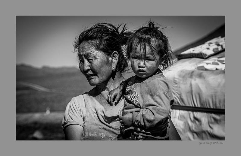 Mother and son GOBI DESERT MONGOLIA