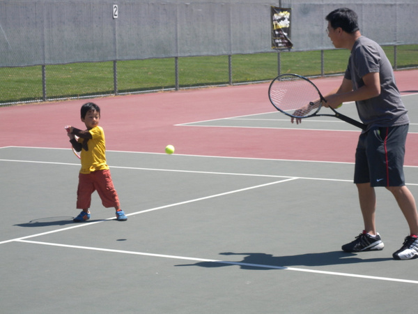 first tennis lesson by uncle conrad by SandyChan574