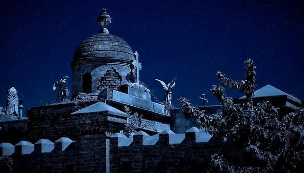 Night Fantasy on Recoleta Cememtery, Buenos Aires, Argentina