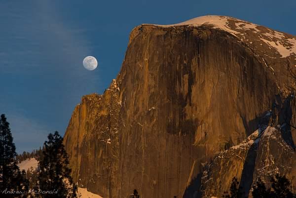 Moonrise over Half Dome