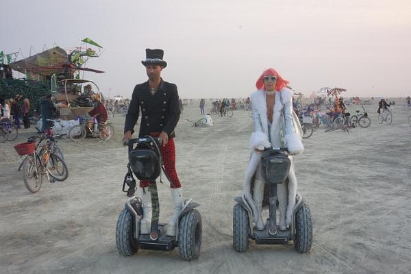 Couple on Segways at Burning Man