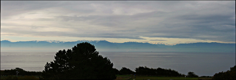 Vancouver 511 Vancouver Island - Victoria - Sonneaufgang mit Blick auf Coast Mountains (USA)