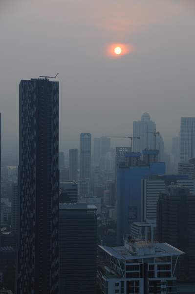 Smoggy Sunset in Bangkok