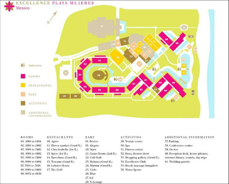 Playa Mujeres Map Map of Excellence Playa Mujeres by Lovethesun