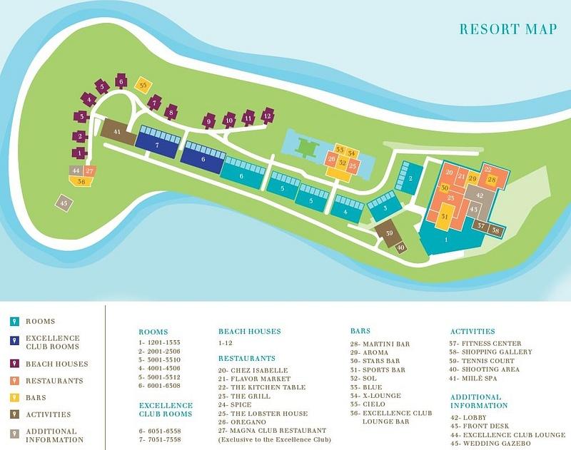 XOB map : http://www.excellenceresorts.com/fileadmin/PDF_Downloads/XOB_MAP.pdf