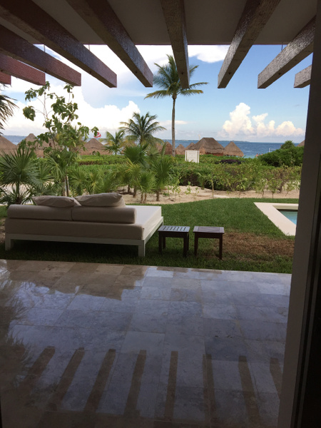 Patio area with double sun lounger by Lovethesun